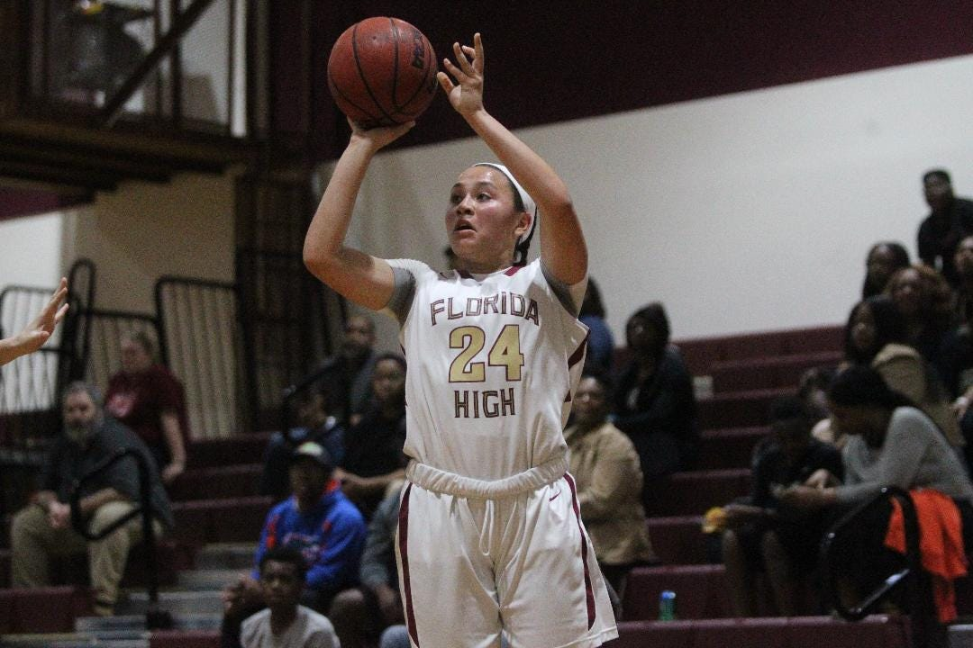 Florida High freshman Jordan Rosier made seven first-half 3-pointers as part of a career-high 33 points in a 66-25 playoff win over North Bay Haven.