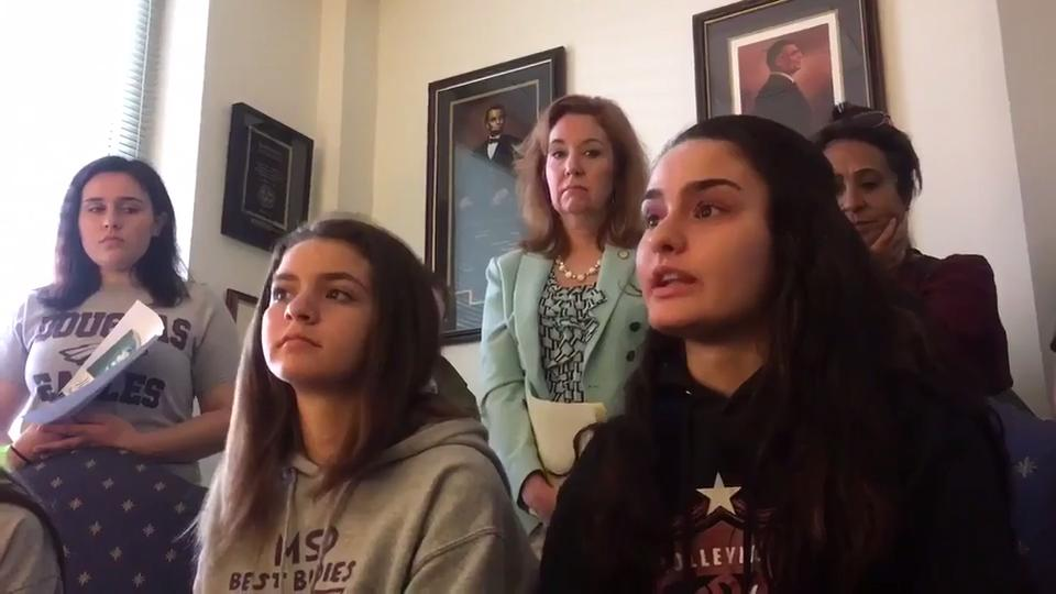 Stoneman Douglas students Mikayla Stravitz, 17, and her little sister Emma Stravitz, 14, share their stories from the Feb.14 shooting at their school during their day of advocacy with fellow students at the state Capitol.