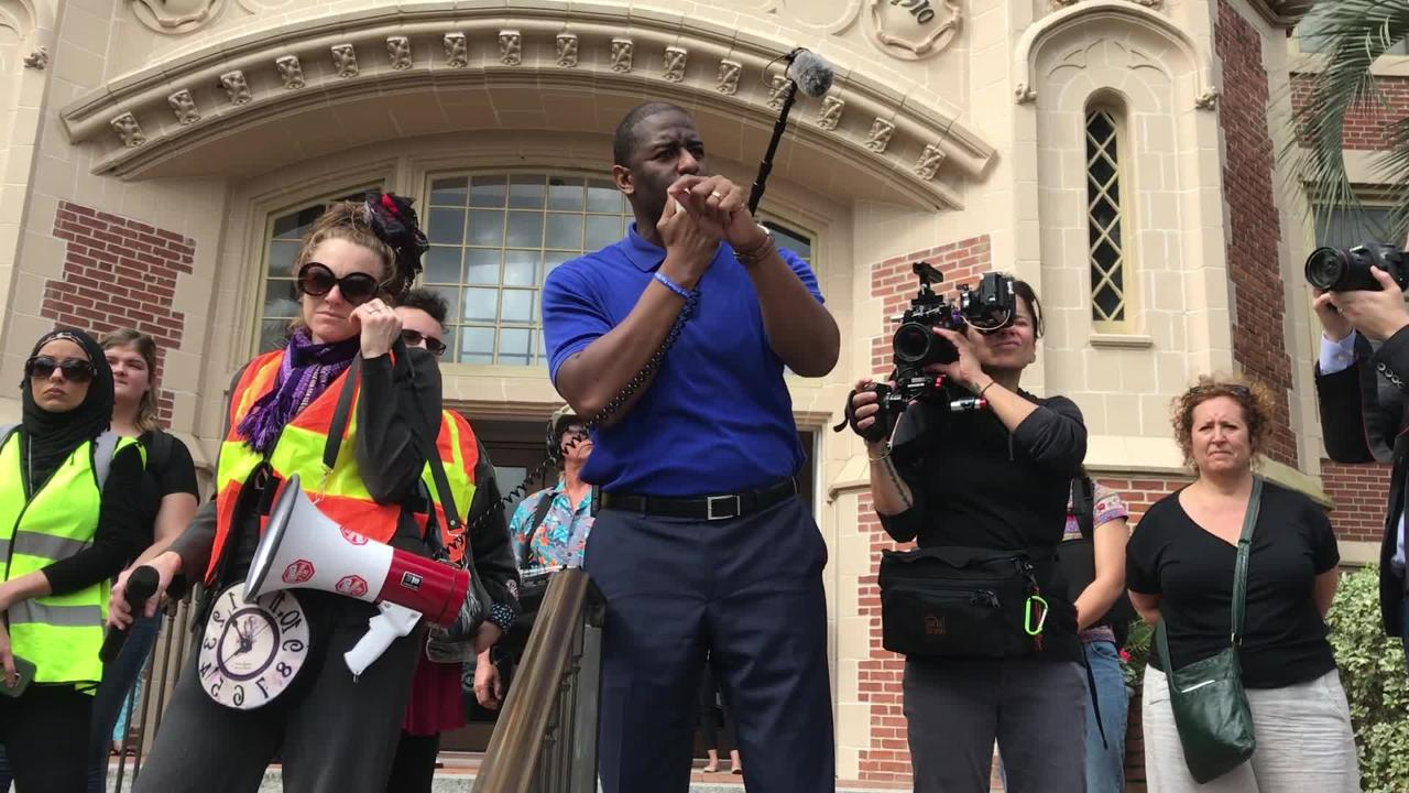 Tallahassee Mayor Andrew Gillum speaks to a crowd of students before marching to the Captiol during the March on Gun Violence rally,