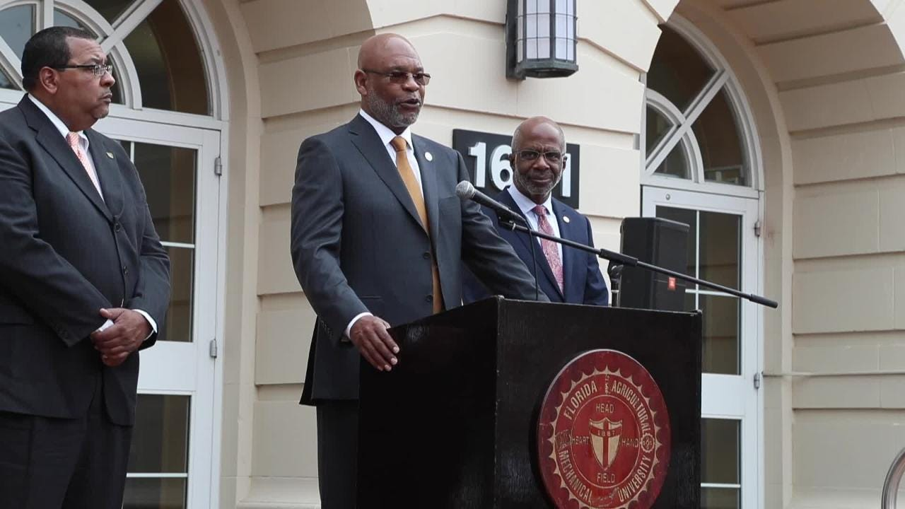 FAMU Interim AD John Eason speaks at a press conference after being named permanent athletic director for the university.