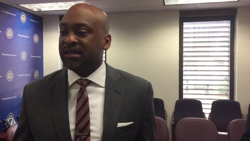 Senate Democratic Leader talks about his gun meeting with Gov Rick Scott