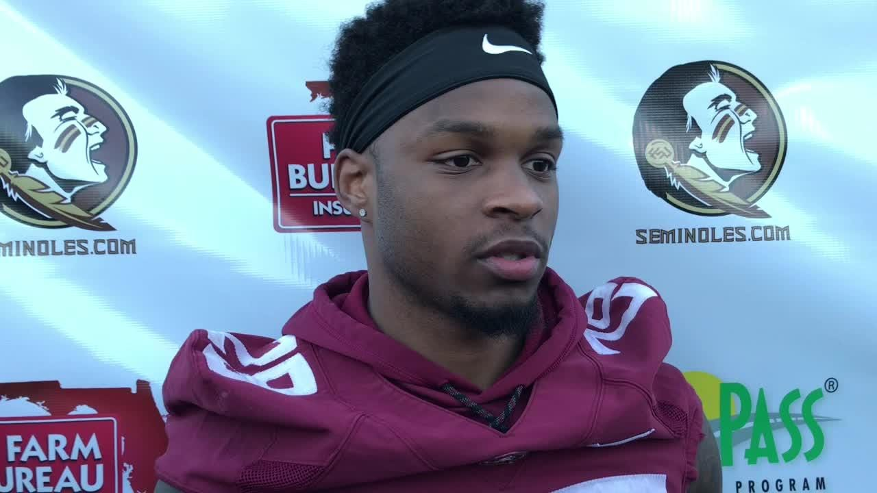 Levonta Taylor speaks with the media before spring practice begins.