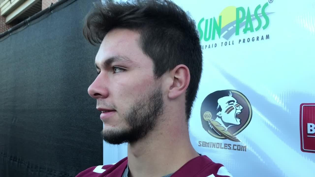 Bailey Hockman speaks to the media before spring practice begins.