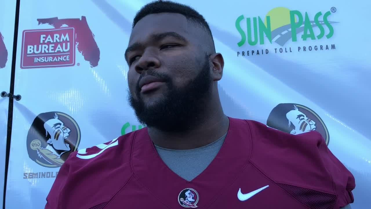 Marvin Wilson speaks to the media before spring practice begins.