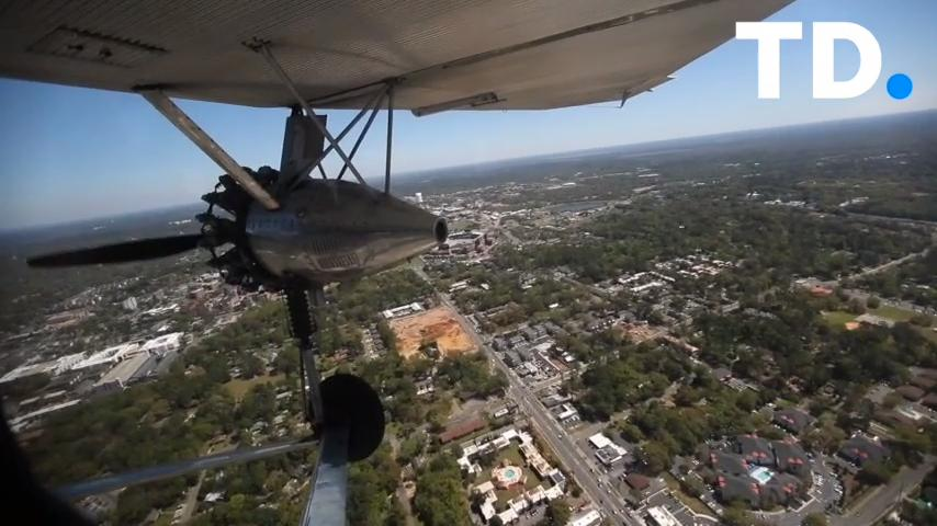 Pilot Colin Soucy talks about air travel on the Tri-Motor 90 years ago as the first commercial plane takes flight over Tallahassee