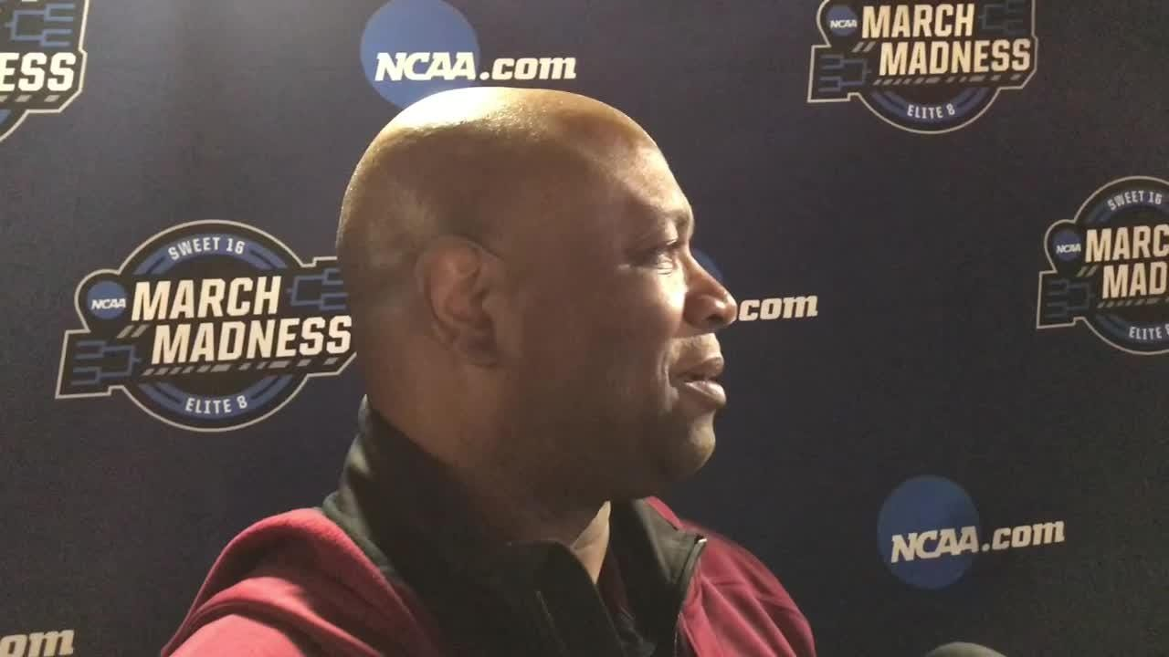 Leonard Hamilton speaks with the media before the Seminoles' Elite 8 match-up with Michigan.