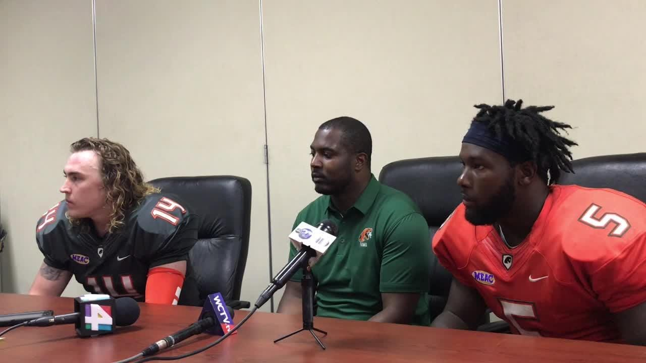 FAMU coach Willie Simmons, quarterback Ryan Stanley, and defensive back Terry Jefferson speak after the Orange and Green Spring Game.