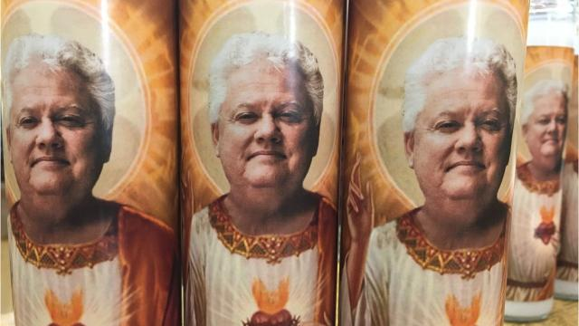 Sioux Falls lawyer Scott Hoy earned unwilling celebrity status after a 2013 TV commercial starring him was mocked on late night TV. Now his local icon status is reaffirmed, after celebrity prayer candles with his face on them went viral, and sold out at Zandbroz Variety in downtown Sioux Falls.