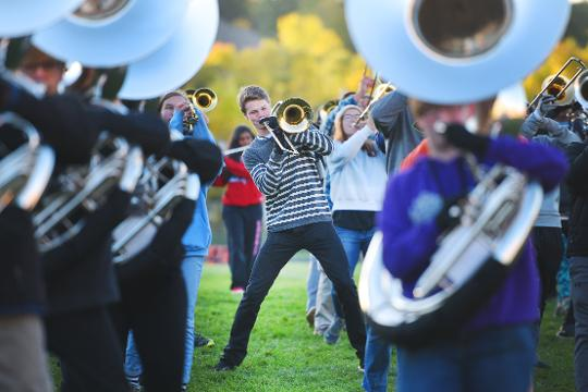 "Lincoln High School marching band is rehearsing for Festival of Bands USA being held Saturday at ""Howard Wood Field."""