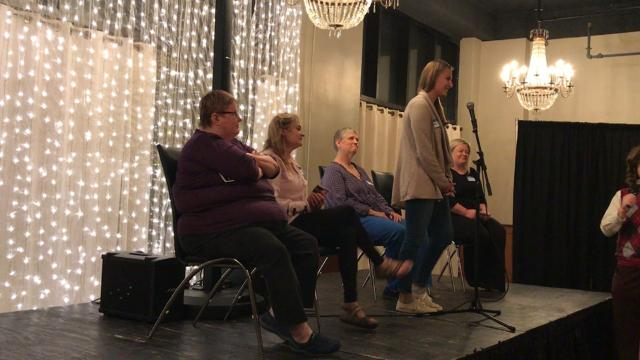 Reporter Alexa Giebink fell in the third round of the Siouxland Libraries' Adult Spelling Bee Friday at Icon Lounge. The library regularly hosts events for all ages.