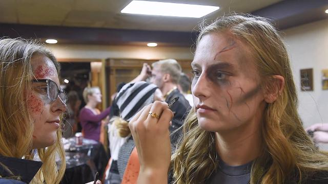 Entertainment reporter Alexa Giebink gets transformed into a zombie for the 2017 Zombie Walk in Sioux Falls. Sam Caravana / Argus Leader