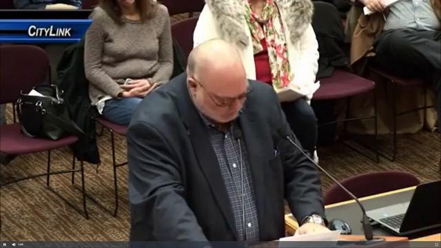 Mike Fodness, the father building collapse survivor Emily Fodness, spoke to the City Council on Tuesday night ahead of their vote to go forward with the parking ramp project and partner with the same company involved in the building collapse.
