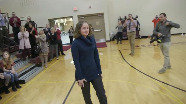 Carla Diede, a Harrisburg South Middle School math teacher, won the Milken Educator Award during an assembly on Thursday, Jan. 4, 2018. The award comes with a $25,000 prize.