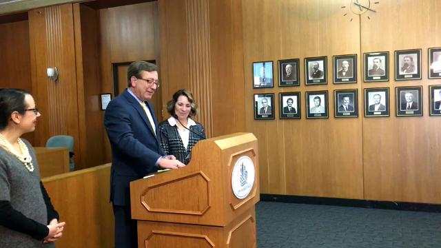 Sioux Falls mayor Mike Huether held a news conference Monday to announce he is not running for public office.