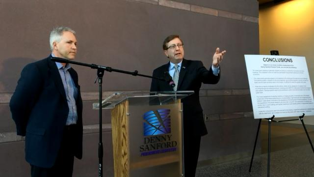 Mayor Mike Huether didn't take a question from blogger and citizen activist Bruce Danielson during a news conference on the Premier Center siding report.