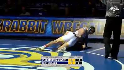 South Dakota State erased a slow start with a dominant showing in the upper weights to defeat Wyoming, 20-18, in a college wrestling battle between ranked opponents from the Big 12 Conference Thursday at Frost Arena. Credit: SDSU sports information
