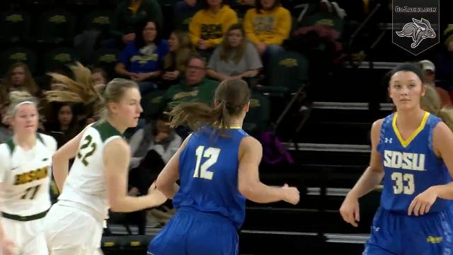 The South Dakota State women's basketball team used six players scoring in double figures to power its way to an 85-64 win over North Dakota State Thursday night. Video: SDSU sports information.