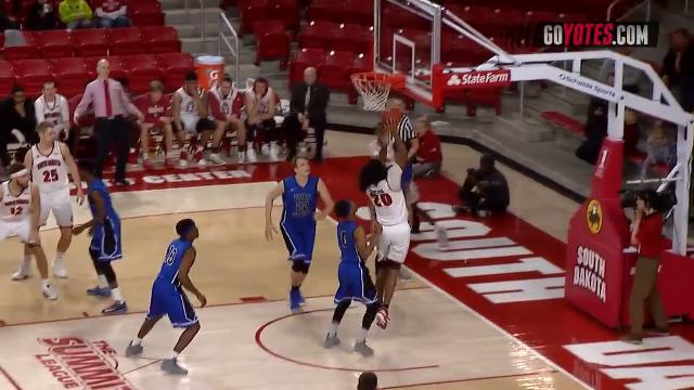 Brandon Armstrong pulled down a career-high 24 points as the University of South Dakota Coyotes took down the Peru State College Bobcats 98-55 on Sunday. Video: USD Sports Information.