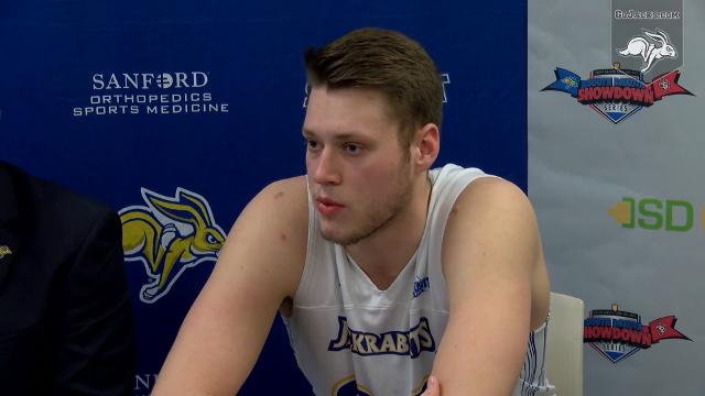 The South Dakota State Jackrabbits post game press conference after defeating the South Dakota Coyotes to win the Summit League regular season title.