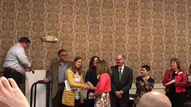 Kimberly Dobson won the 2018 Sioux Falls Teacher of the Year award