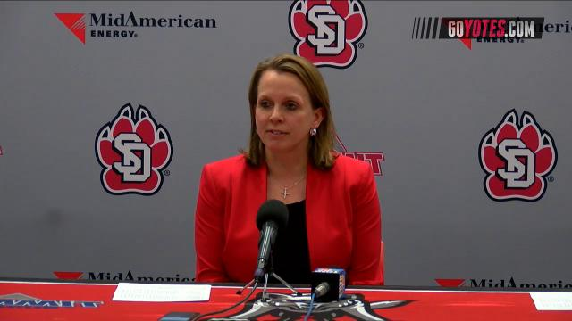 The University of South Dakota Coyotes post game press conference after defeating the Michigan State University Spartans in overtime in the WNIT.
