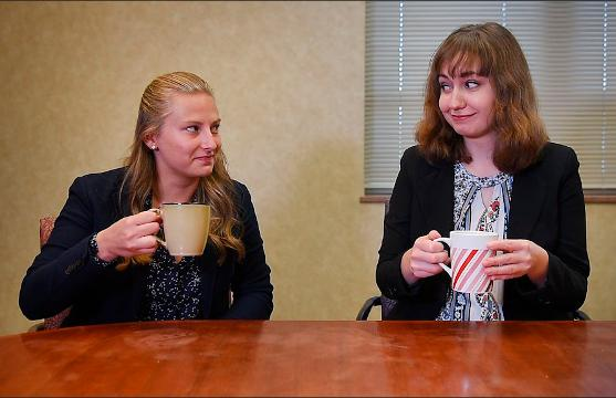 Food and Entertainment Reporter Alexa Giebink and summer intern Rebekah Tuchscherer try Death Wish Coffee Wednesday, June 6, at the Argus Leader newsroom in Sioux Falls.
