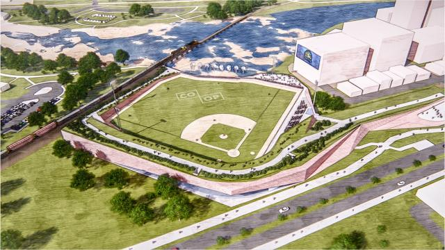 The Co-Op Architecture group has made designs of a proposed baseball stadium at Falls Park. It would be north of the Sioux Steel development site.