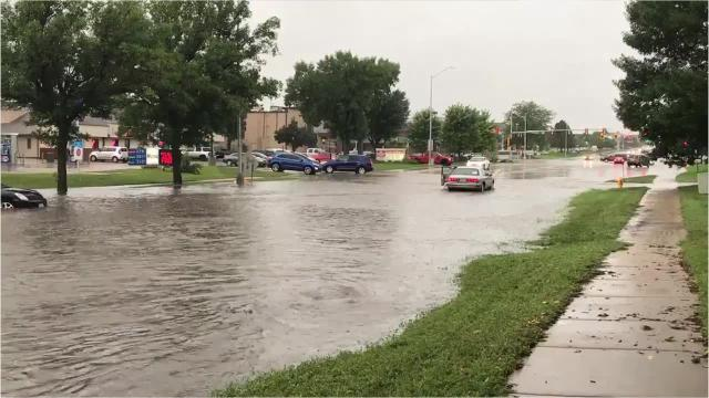 Flooded streets in sioux falls sd