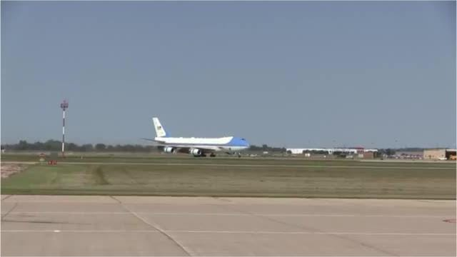 Watch as President Trump disembarks from Air Force One on Friday at the Sioux Falls Regional Airport.