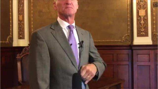 Gov. Dennis Daugaard talks about the passage of the online sales tax bill after he signed it into law Wednesday.