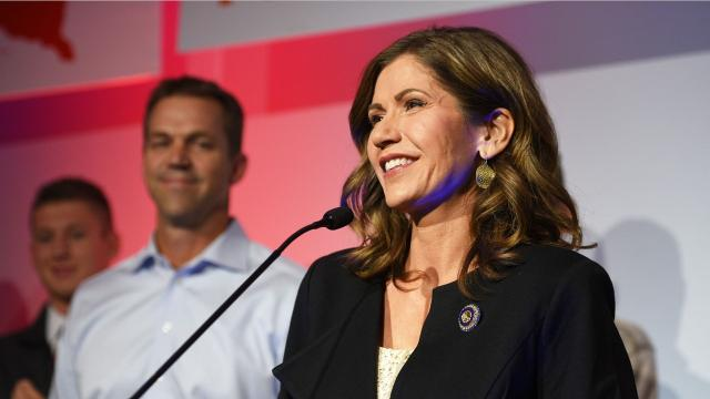 Noem won the 2018 midterm election for South Dakota governor. She will be the first woman to hold that office.