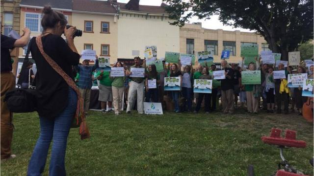 Hundreds of people held a rally in Mural Square Park ahead of the EPA's informational session on its cleanup of the Hudson River. They voiced support of reducing the toxic polychlorinated biphenyls, or PCBs, from the river and asked the EPA to provide answers to their questions. Video by Jack Howland/Poughkeepsie Journal