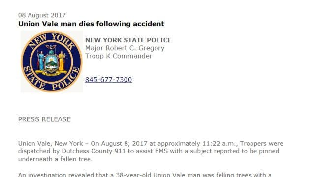 A 38-year-old Union Vale man died after being pinned underneath a tree Tuesday morning, according to state police.