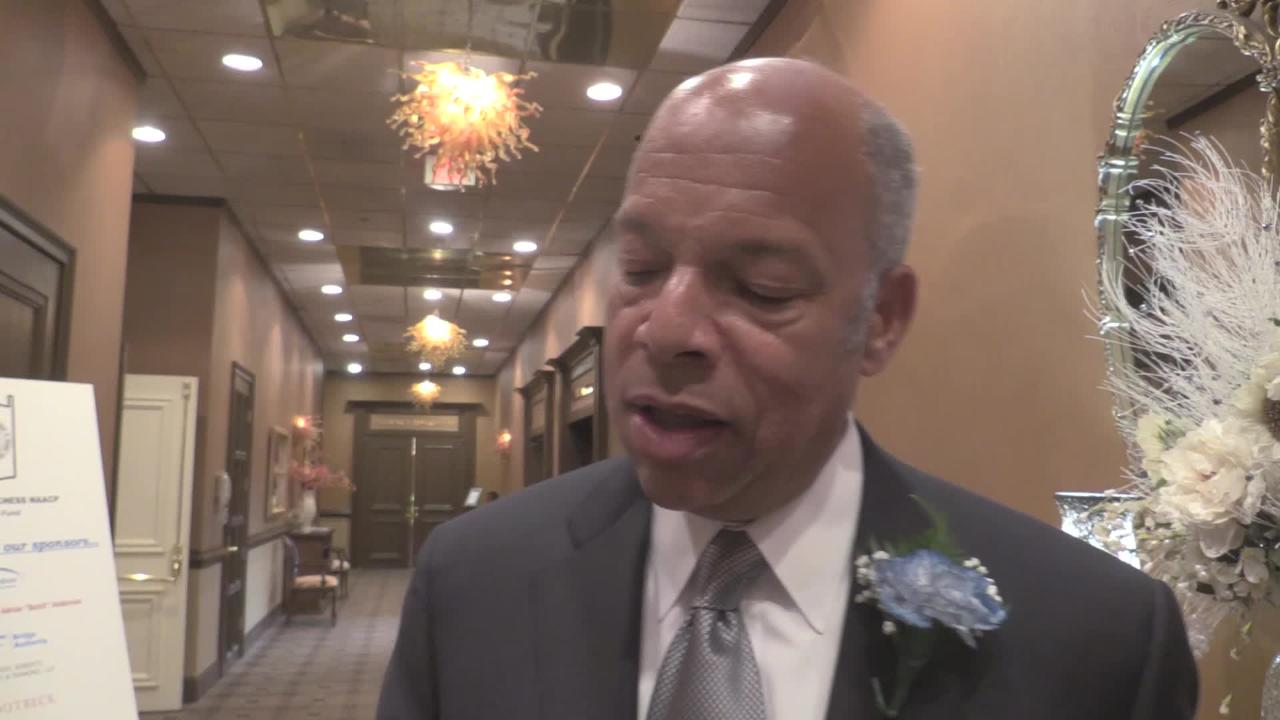 Jeh Johnson, a former Town of Poughkeepsie resident, talks about his last day as Homeland Security Secretary and remembers his Poughkeepsie roots. Johnson was attending the Northern Dutchess NAACP Freedom Fund Banquet in Poughkeepsie.