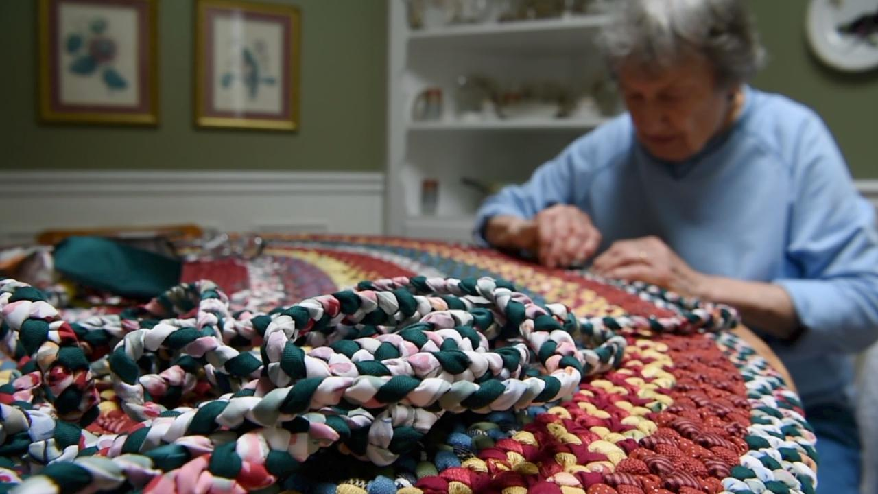 87-year-old Janice Helmer has been creating braided rugs for decades, and she still loves doing it.