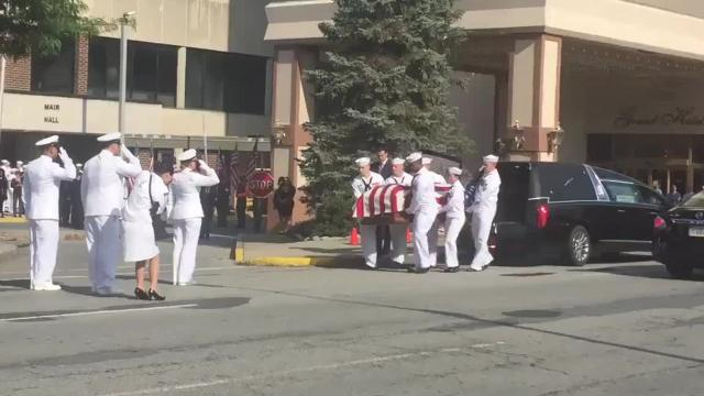 The funeral service for Poughkeepsie sailor Corey Ingram is being held at the Mid-Hudson Civic Center.