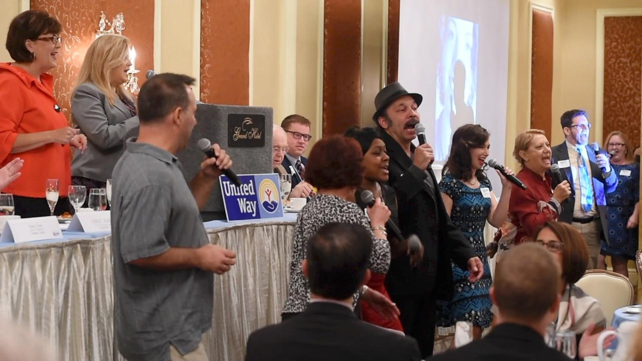 The County Players gave a surprise performance at United Way's 80th anniversary community breakfast at the Poughkeepsie Grand Hotel.