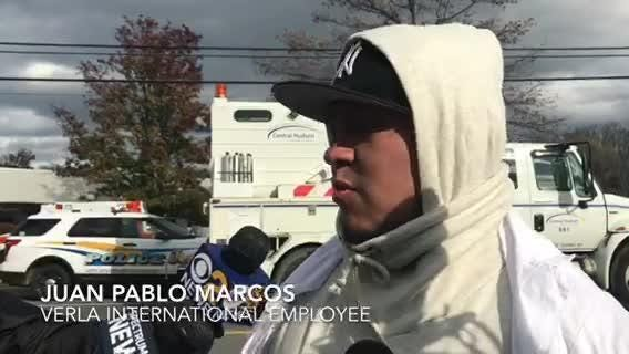 Verla International employee Juan Pablo Marcos discusses hearing the explosion inside the New Windsor factory on Monday.
