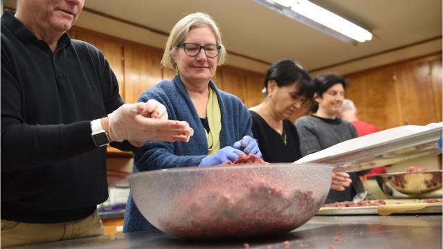 Volunteers from St. John's Lutheran Church prepared venison meatballs on Sunday that will be served in subs at the Lunch Box soup kitchen on Monday night. The kitchen typically gets around 180 people for dinner. Video by Jack Howland/Poughkeepsie Journal