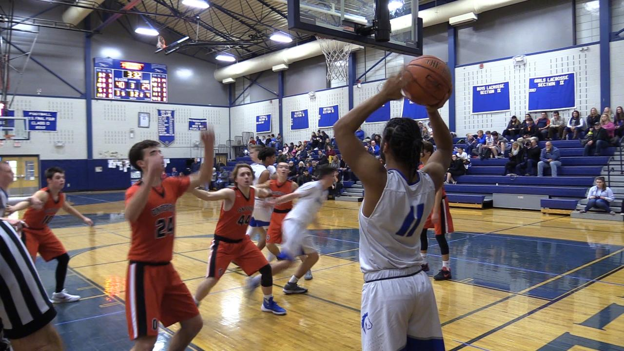 Millbrook boys basketball tops Onteora in Tuesday's home game.