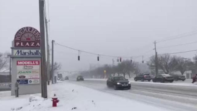 A look at the drive on Route 9 in the Town of Poughkeepsie this morning. Video by Patrick Oehler/Poughkeepsie Journal