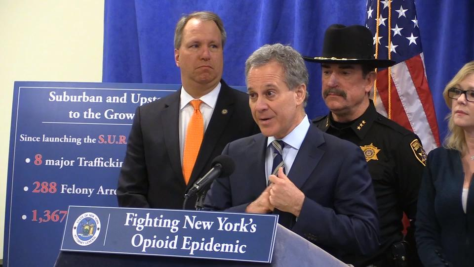 """NY Attorney General Eric Schneiderman announces the takedown of a major Hudson Valley narcotics distribution ring in """"Operation Yellow Brick Road."""""""
