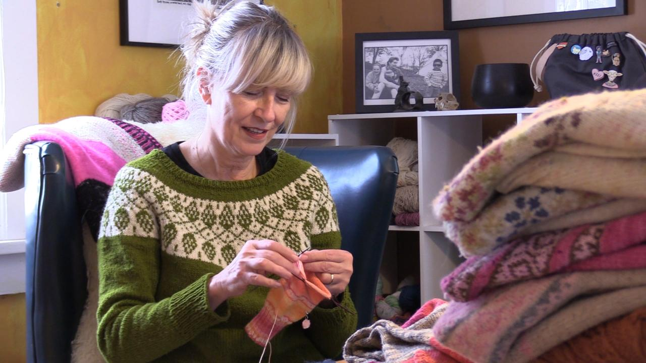 "Nancy ""Ency"" Austin has been knitting since she was a child, and has made a lifestyle of it."
