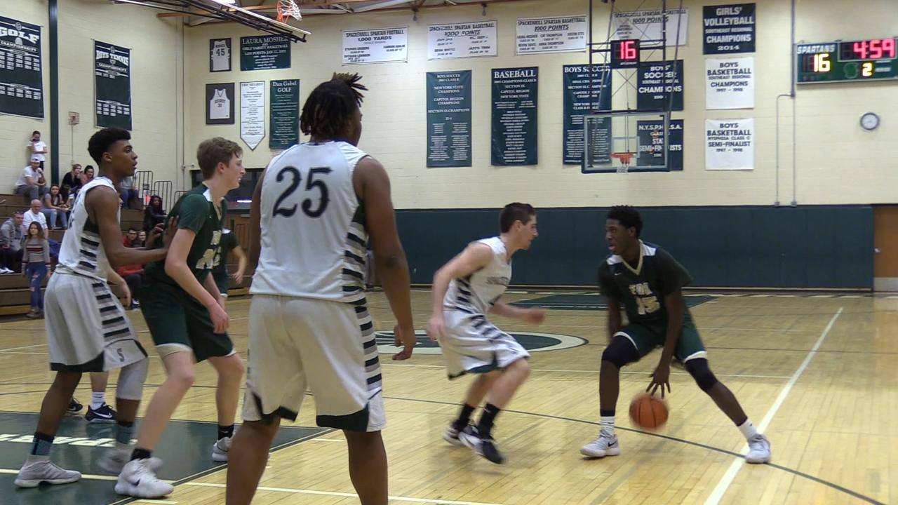 Spackenkill boys basketball hosts FDR in Tuesday's matchup. FDR triumphed 57/48.