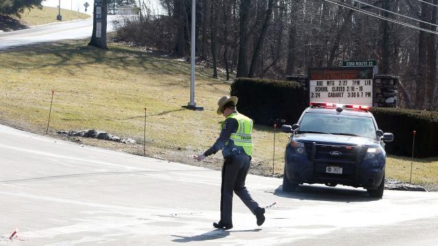 Students in the Dover Union Free School District were evacuated for part of Wednesday morning after a pair of bomb threats were called in to Dover High School. Video by Jack Howland/Poughkeepsie Journal