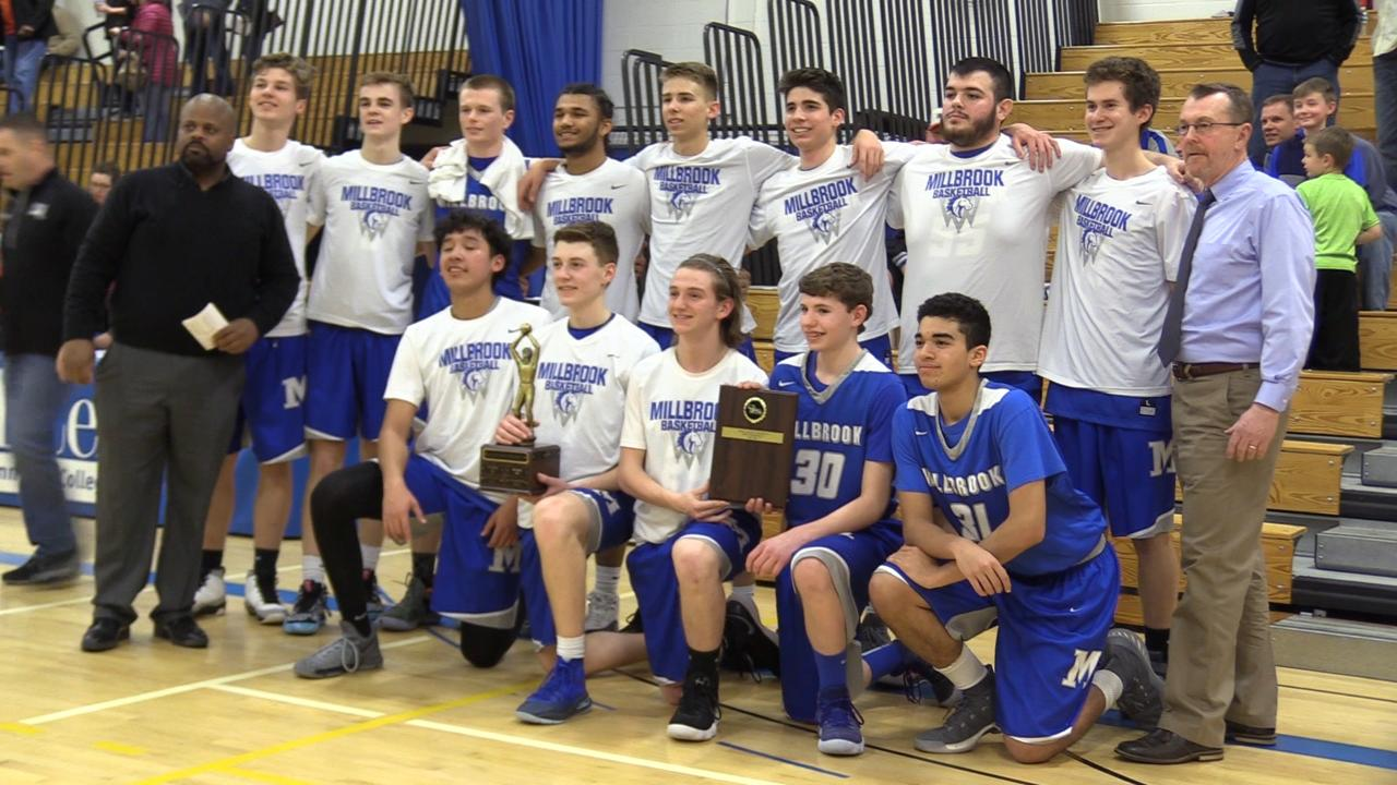 Millbrook boys basketball top Marlboro in Friday's MHAL championship at SUNY Ulster 56/59 in OT.