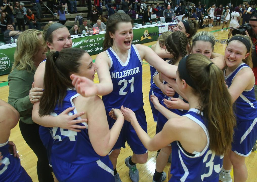 Millbrook defeated Syracuse Academy of Science to win the New York State girls Class C championship at Hudson Valley Community College in Troy March 17, 2018. Frank Becerra Jr./Poughkeepsie Journal