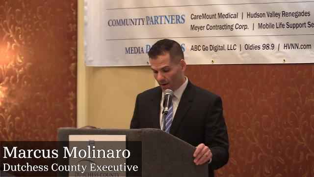 Dutchess County Executive Marcus Molinaro speaks about the $2.6 billion in development projects around the county during Wednesday's Dutchess County Regional Chamber of Commerce contact breakfast.