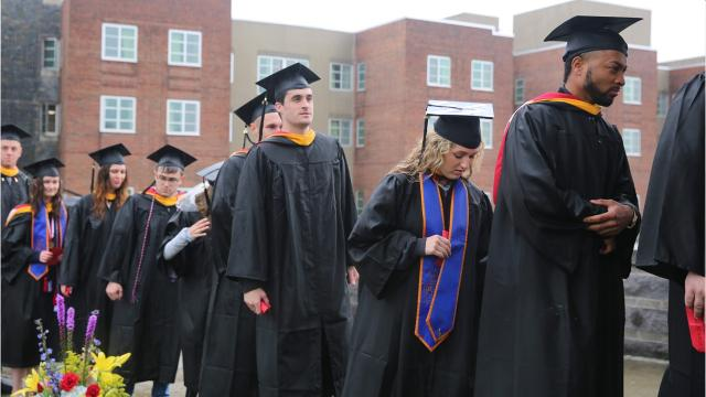 Scenes from Marist College's 2018 commencement ceremony, in which the college conferred 1,900 degrees to graduating students outdoors on the Campus Green amid the rain. Most people had ponchos or umbrellas. Video by Jack Howland/Poughkeepsie Journal