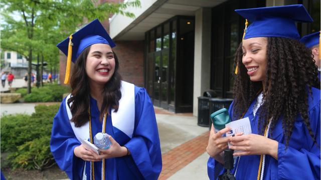 SUNY New Paltz conferred degrees to nearly 2,000 students in ceremonies on Saturday and Sunday, divided by schools. The celebration on Saturday featured steady rain while it was clear skies on Sunday. Video by Jack Howland/Poughkeepsie Journal